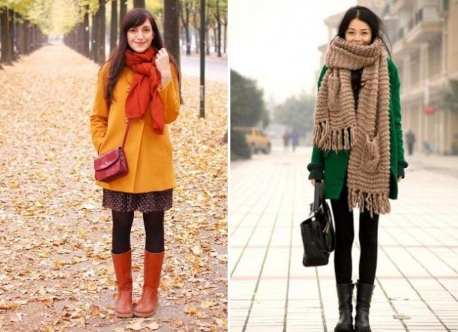 как модно носить шарф с пальто