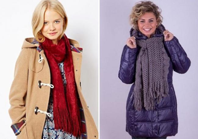 как повязать шарф на пальто с капюшоном